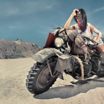 Girl On Desert Offroad Bike - Android / iPhone HD Wallpaper Background Download HD Wallpapers (Desktop Background / Android / iPhone) (1080p, 4k)