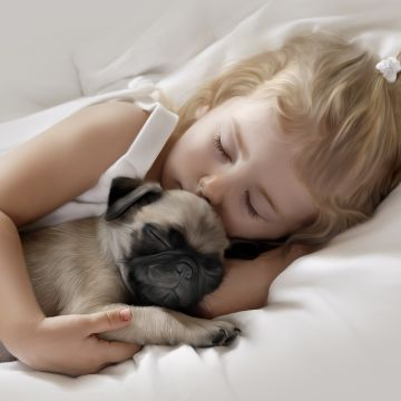 Adorable Little Girl Sleeping with Pug Puppy - Android / iPhone HD Wallpaper Background Download HD Wallpapers (Desktop Background / Android / iPhone) (1080p, 4k)