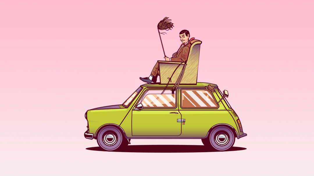 Mr Bean Sitting On Top Of His Car Vector Art - Android / iPhone HD Wallpaper Background Download HD Wallpapers (Desktop Background / Android / iPhone) (1080p, 4k)