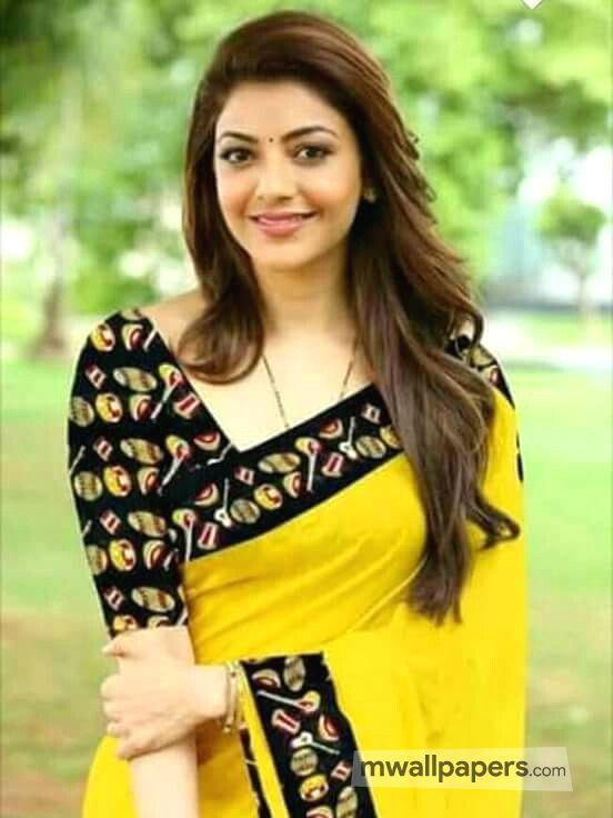 Kajal Agarwal Beautiful Yellow Saree HD Wallpaper (51) - Kajal Agarwal