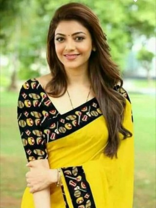 Kajal Agarwal Beautiful Yellow Saree HD Wallpaper