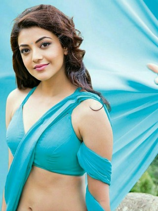 Kajal Agarwal Cute Blue Saree HD Wallpaper