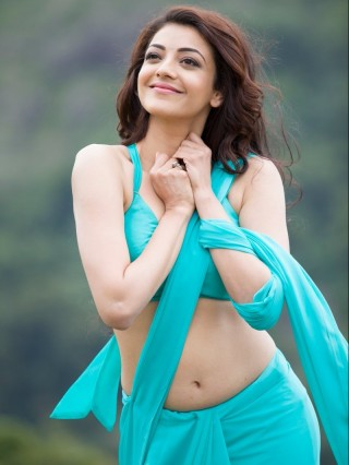 Kajal Agarwal Hot Saree HD Wallpaper - kajal agarwal,actress,blue