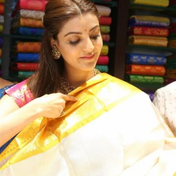 Kajal Agarwals latest beautiful green silk saree HD stills HD Wallpapers (Desktop Background / Android / iPhone) (1080p, 4k)