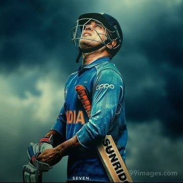 MS Dhoni 7 Looking at Sky Drawing Image / Wallpaper HD HD Wallpapers (Desktop Background / Android / iPhone) (1080p, 4k)