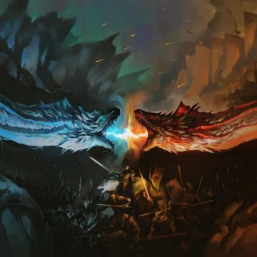 Download Dragon Battle Fire Vs Ice Game Of Thrones 1366x768 - Android / iPhone HD Wallpaper Background Download HD Wallpapers (Desktop Background / Android / iPhone) (1080p, 4k)
