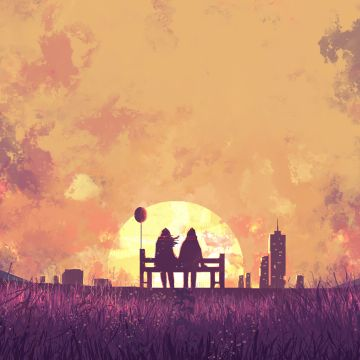 Couple Sitting Bench Digital Art - Android / iPhone HD Wallpaper Background Download HD Wallpapers (Desktop Background / Android / iPhone) (1080p, 4k)