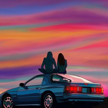 Couple Sitting On Car Evening Talks - Android / iPhone HD Wallpaper Background Download HD Wallpapers (Desktop Background / Android / iPhone) (1080p, 4k)