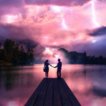 Electric Love Couple Holdings Hands At Pier - Android / iPhone HD Wallpaper Background Download HD Wallpapers (Desktop Background / Android / iPhone) (1080p, 4k)